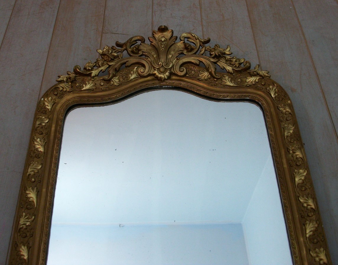 Large Antique French Overmantle Gilded Mirror