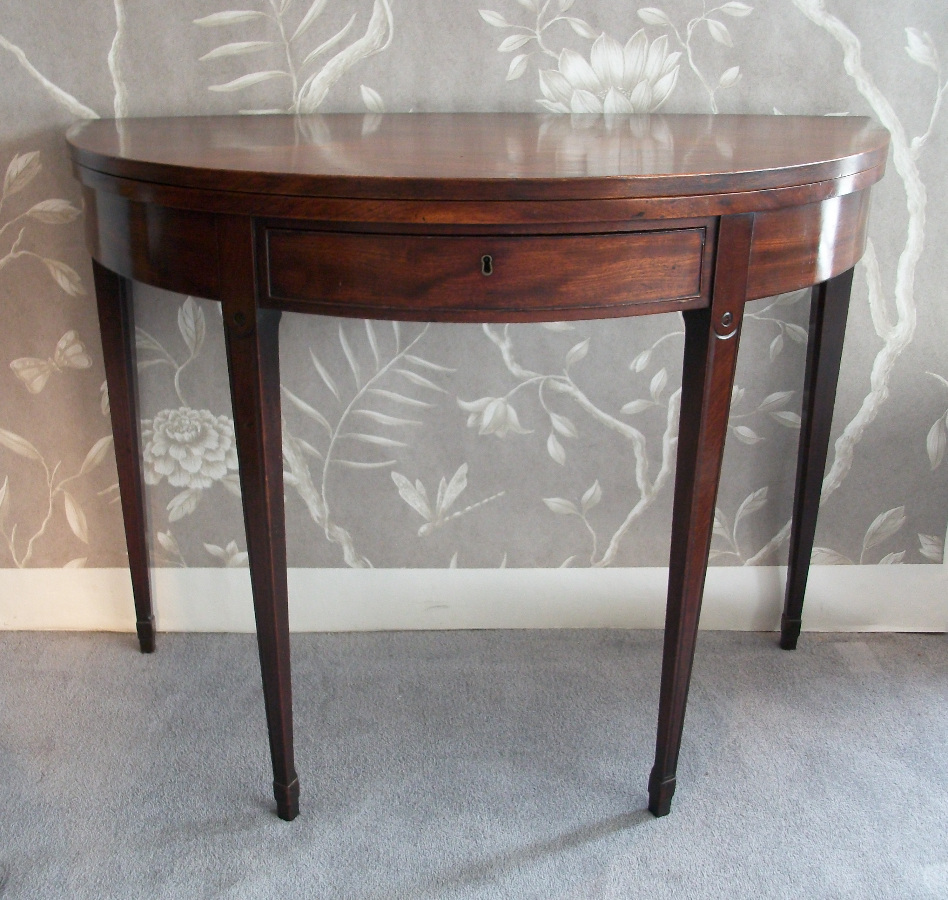 Georgian Mahogany Folding Demi Lune Tea Table