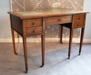 mahogany inlaid writing desk with drawers