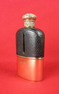 silver gilt hip flask
