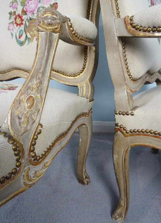 A Fine Pair Of Painted and Gilt French Armchairs (17).JPG