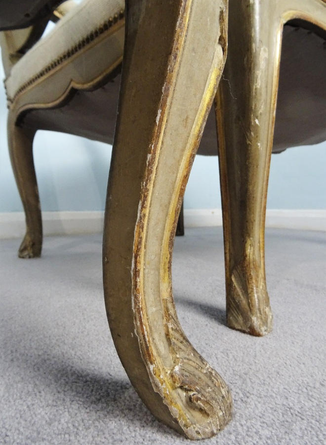 A Fine Pair Of Painted and Gilt French Armchairs (19).JPG