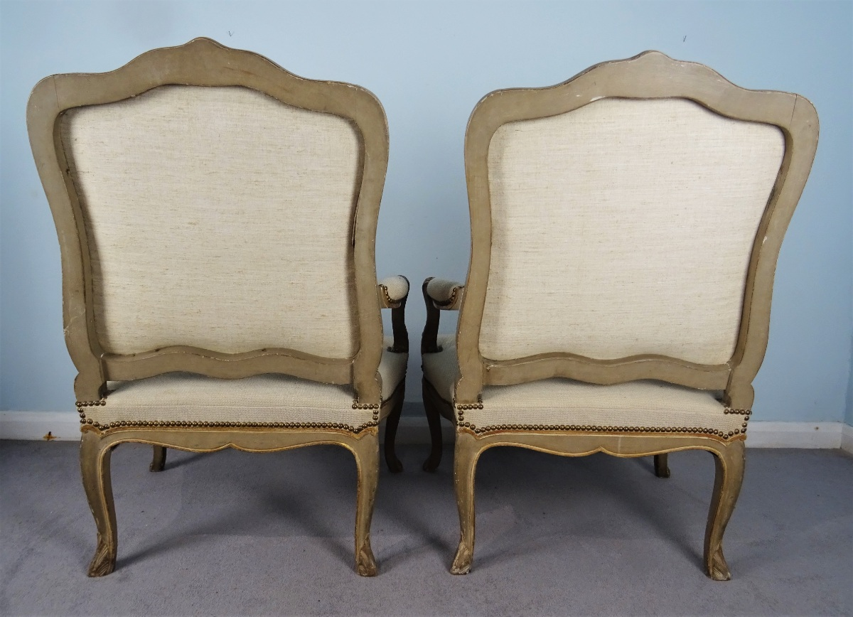 A Fine Pair Of Painted and Gilt French Armchairs (23).JPG