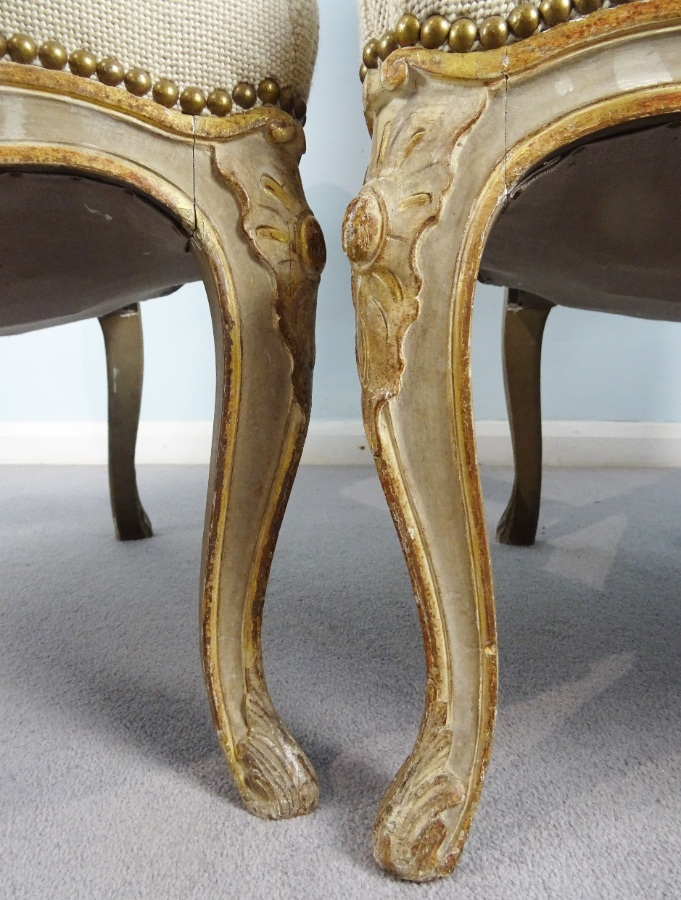 A Fine Pair Of Painted and Gilt French Armchairs (28).JPG