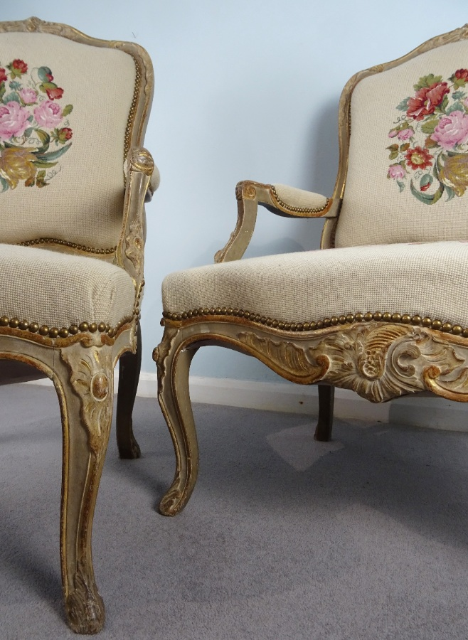 A Fine Pair Of Painted and Gilt French Armchairs (30).JPG