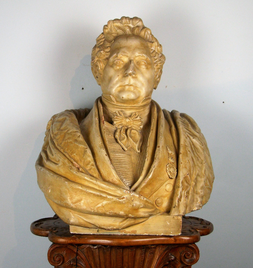 Antique  	Plaster Bust of Important Figure