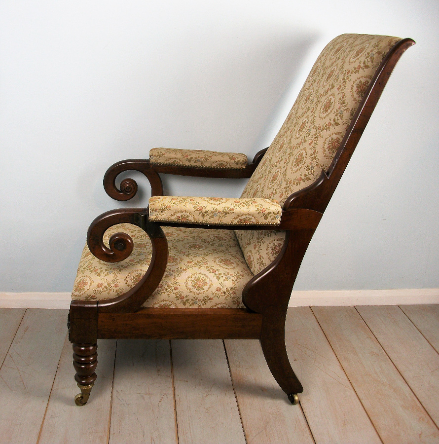 Antique Reclining Mahogany Library Armchair