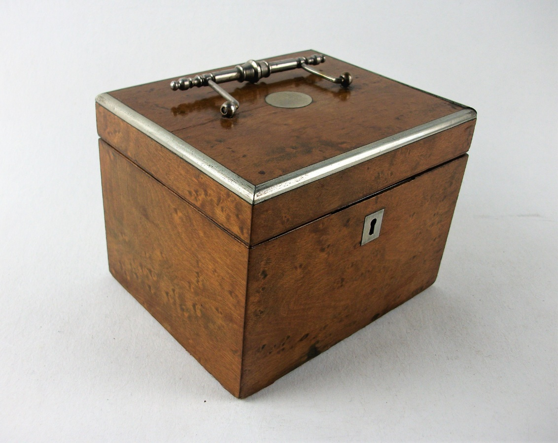 Antique Burr Maple Tea Caddy