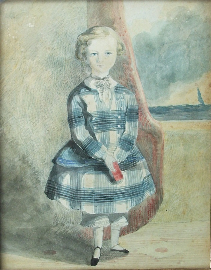 Antique naïve portrait of a child