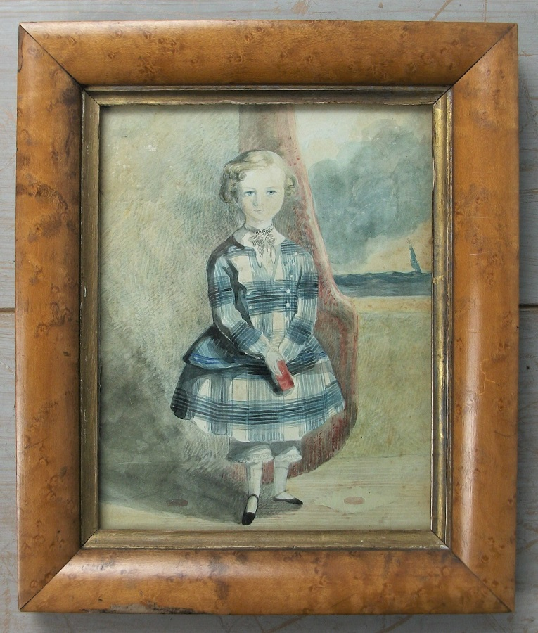 Antique naïve portrait of a young boy