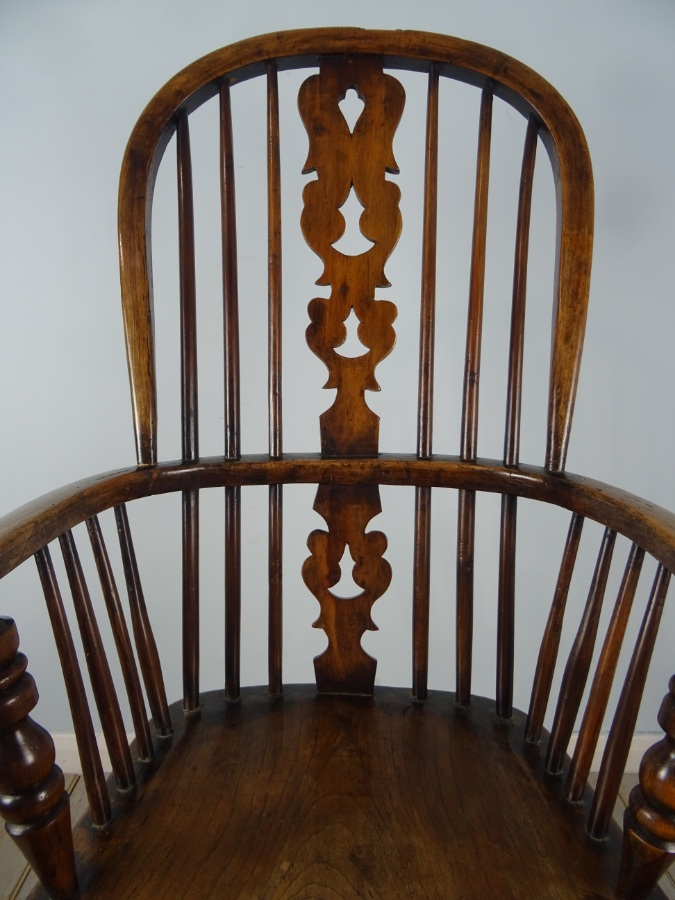 Windsor Kitchen High Back Armchair with pierced fruitwood Christmas Tree back splat