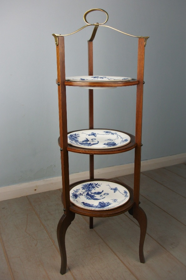 Edwardian Mahogany Three Tier Cake Stand with Plates