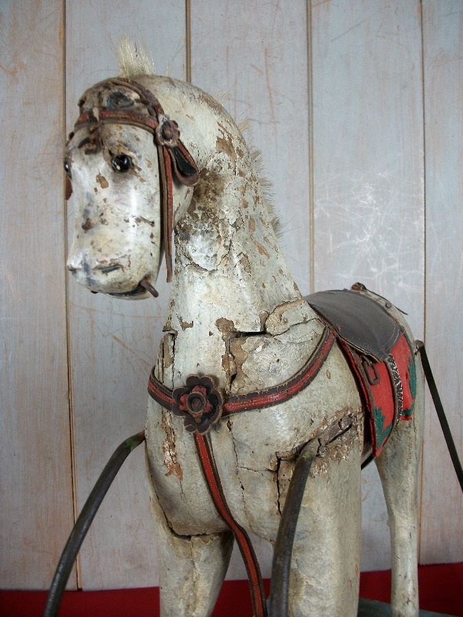 A Spanish 19thC Naive Painted Rocking Horse