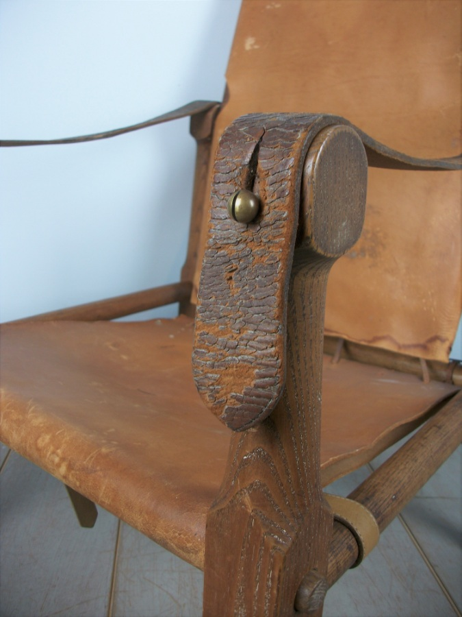 English Oak Military Roorkhee Campaign Chair