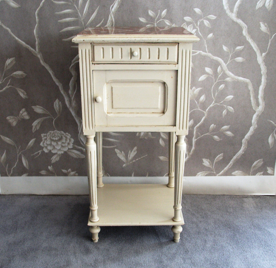 Antique French Painted Bedside Cupboard