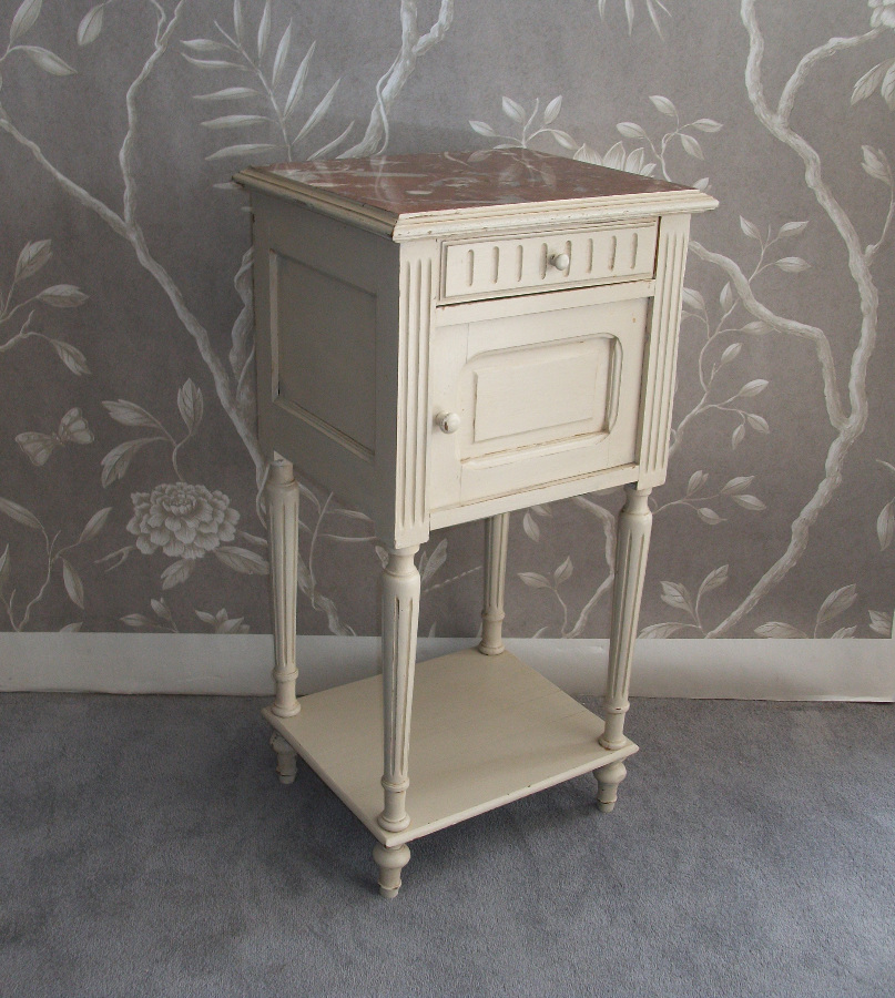 Antique Painted Bedside Cupboard Beautiful marble top