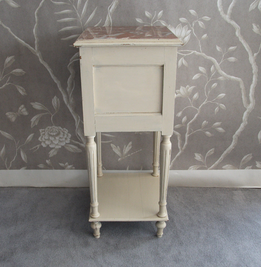 French Painted Bedside Cupboard with Beautiful Marble Top