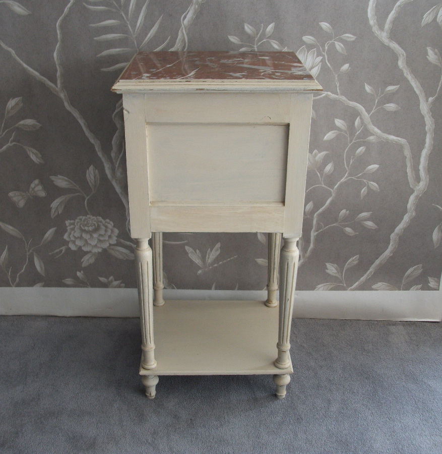 Antique Painted Bedside Cupboard with Fluted Legs