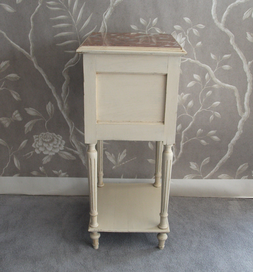 French Painted Bedside Cupboard with Fluted Legs