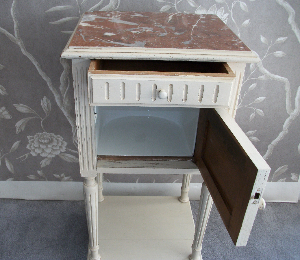Antique Painted Bedside Cupboard with One Door and One Drawer