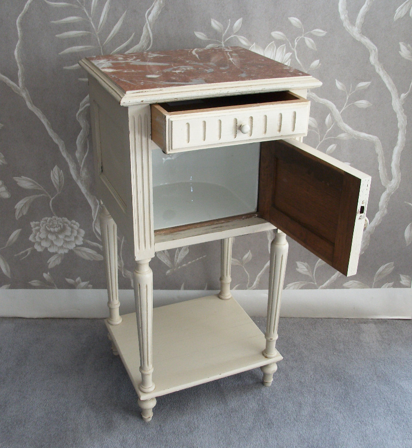 French Painted Bedside Cupboard with One Door and One Drawer