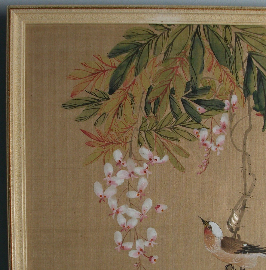 Japanese scroll  Painting on silk with birds and flowers