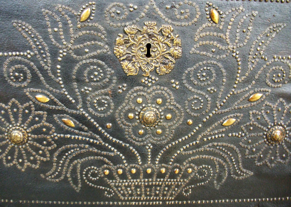 Leather Clad Coffer Marriage Panel with Nailhead details