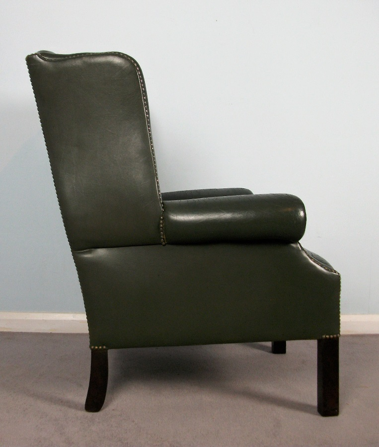 Georgian Green Leather Wing Back Chair