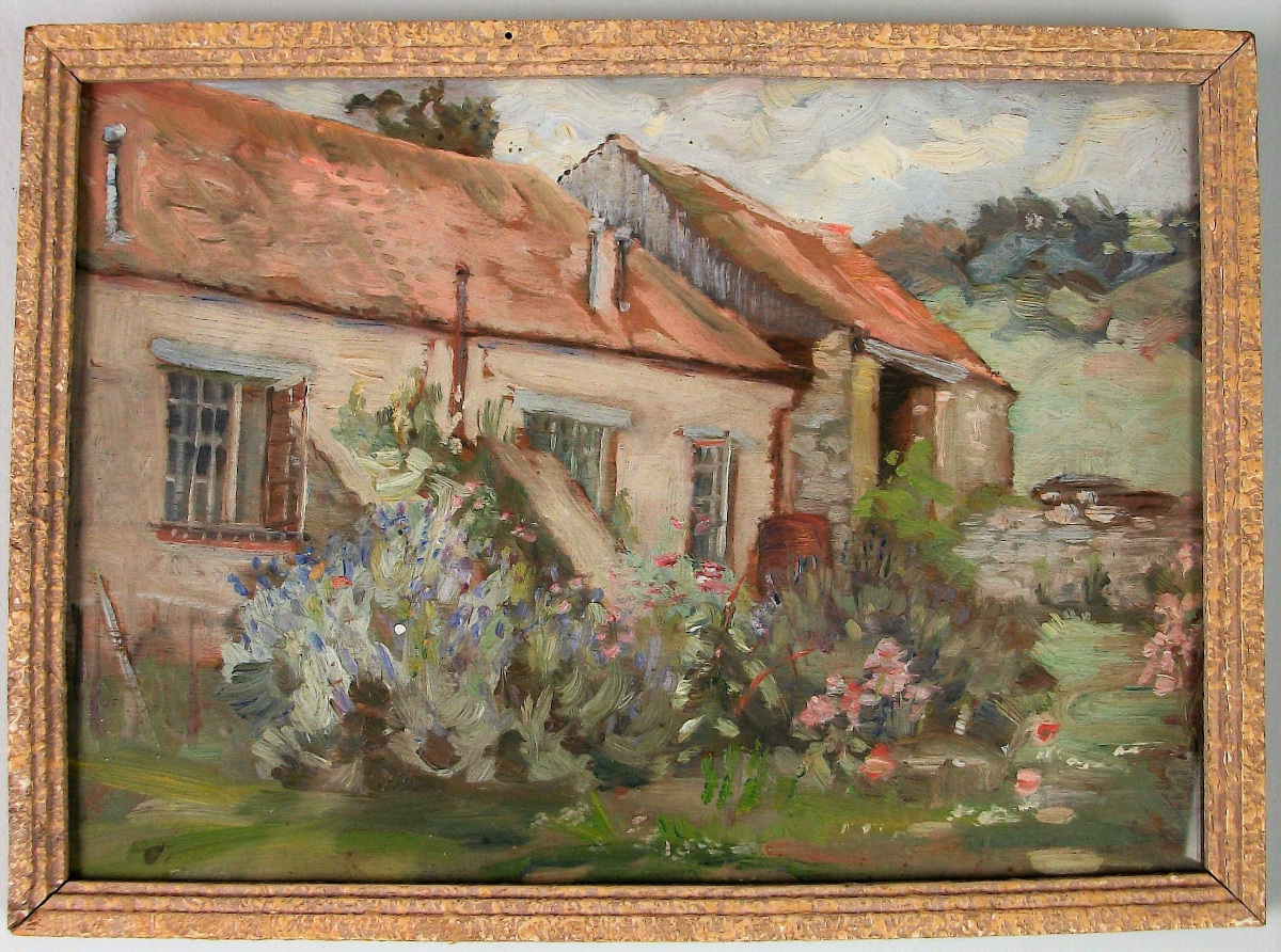 Oil on Board of an english Cottage