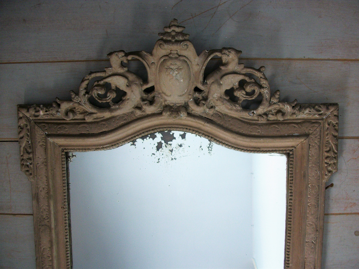 Painted Mirror with Shield, Dragons and Griffins