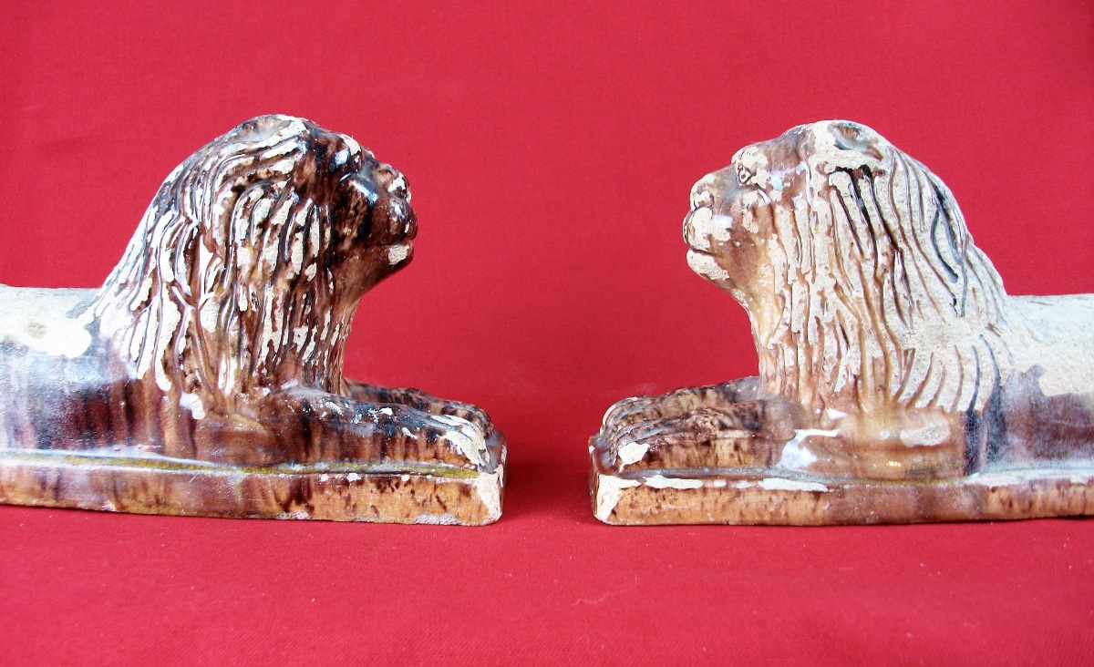 Pair of Antique Tuscany Terracotta Lions Firedogs