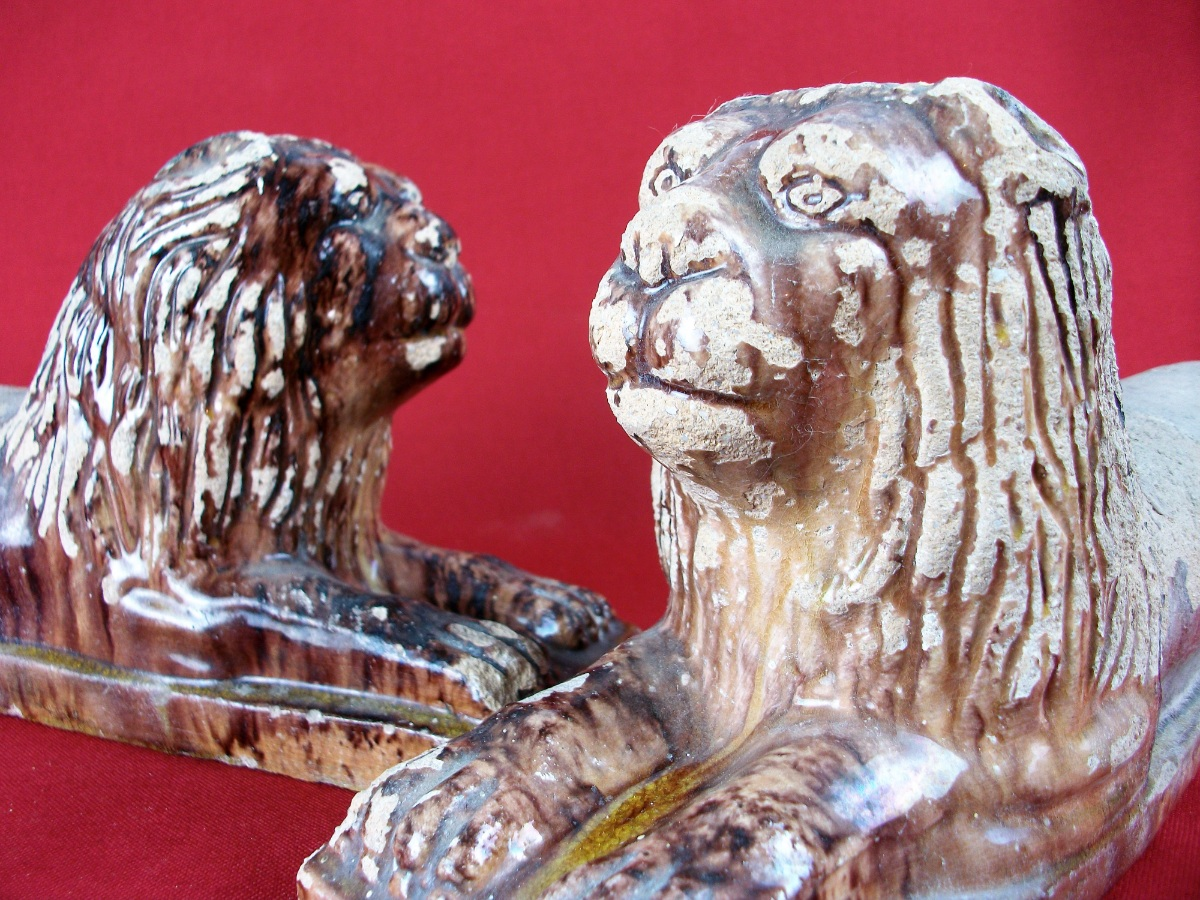 Pair of Antique Italian Terracotta Lions Firedogs