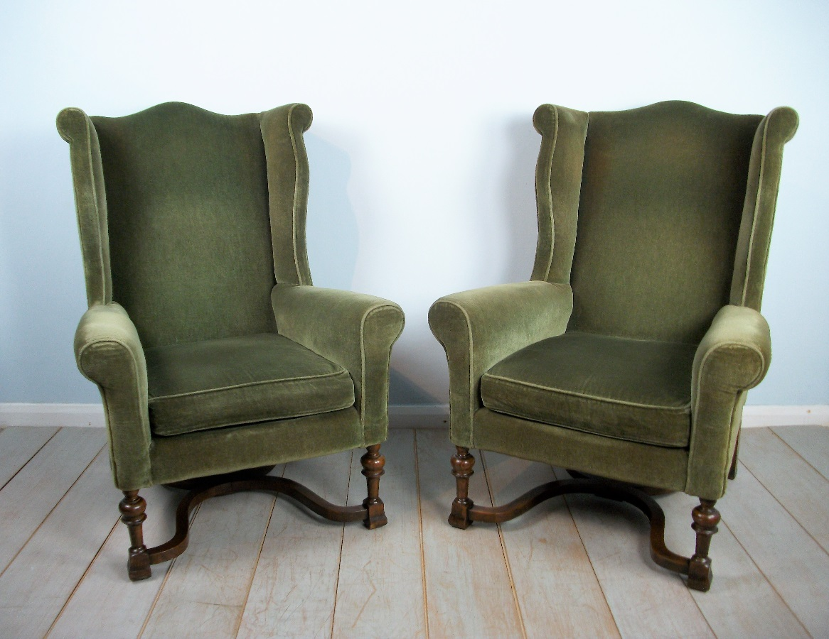 Pair of Edwardian Wing Back Upholstered Armchairs