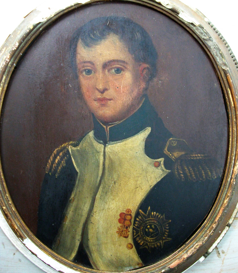Oil on board of Emperor Napoleon