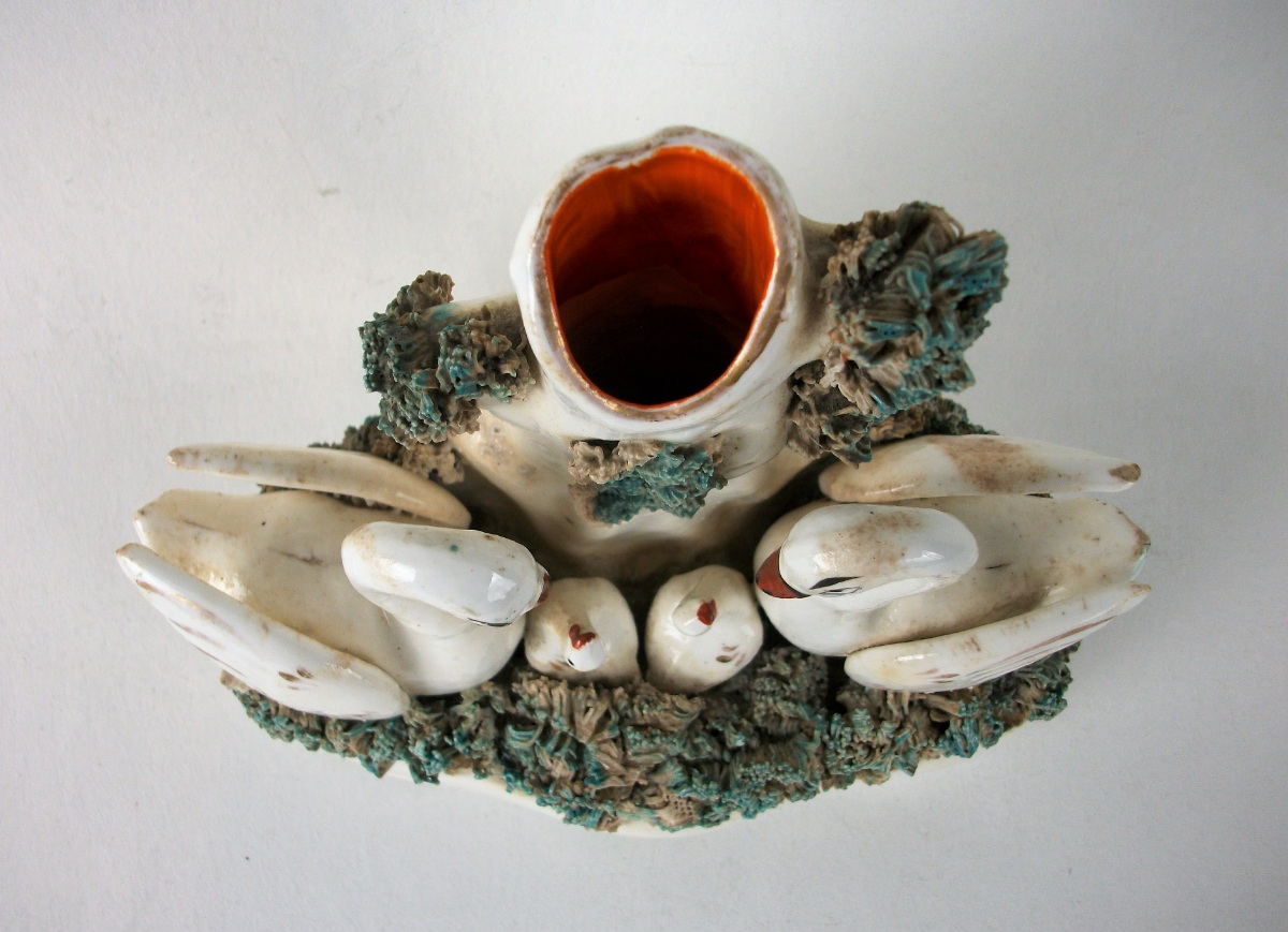 Antique Staffordshire Swans and Cygnets Spill Vase Tulip Holder