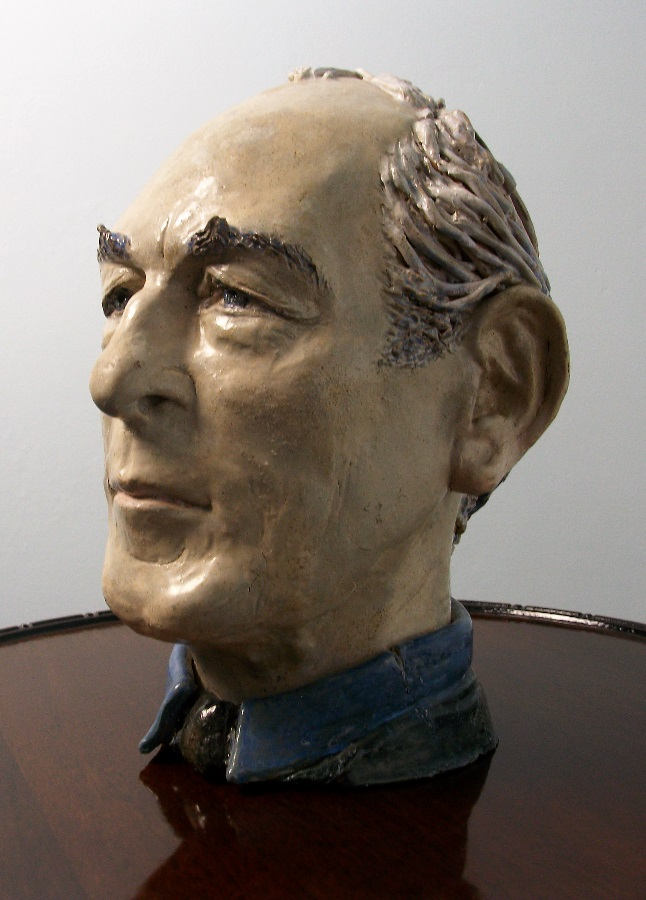 Sculpture painted terracotta bust of man male head study centrepiece