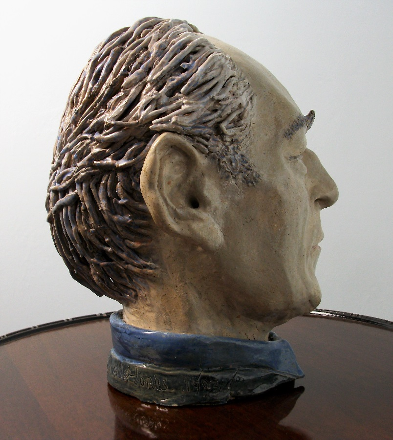 Sculpture painted clay bust of man male head study centrepiece