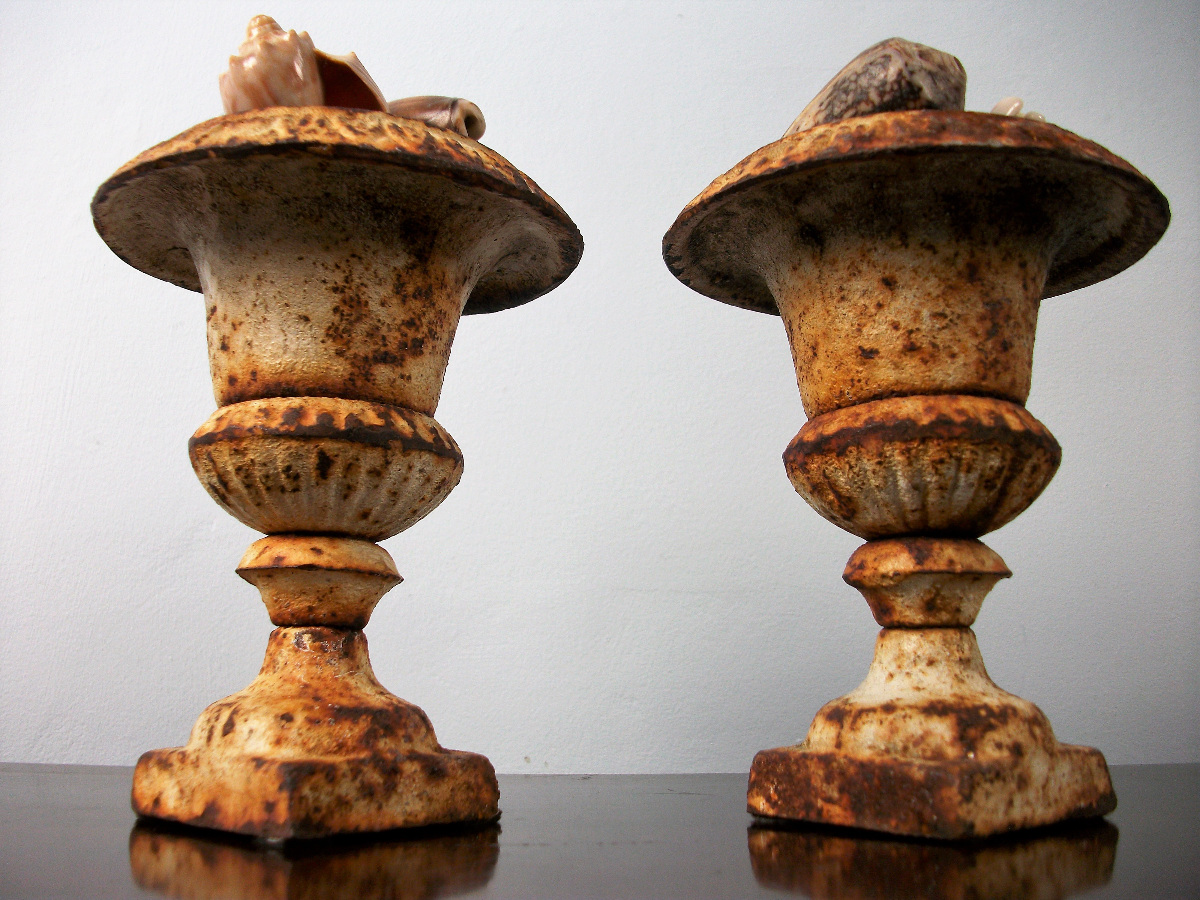 Pair of Small Cast Iron Mantel Urns