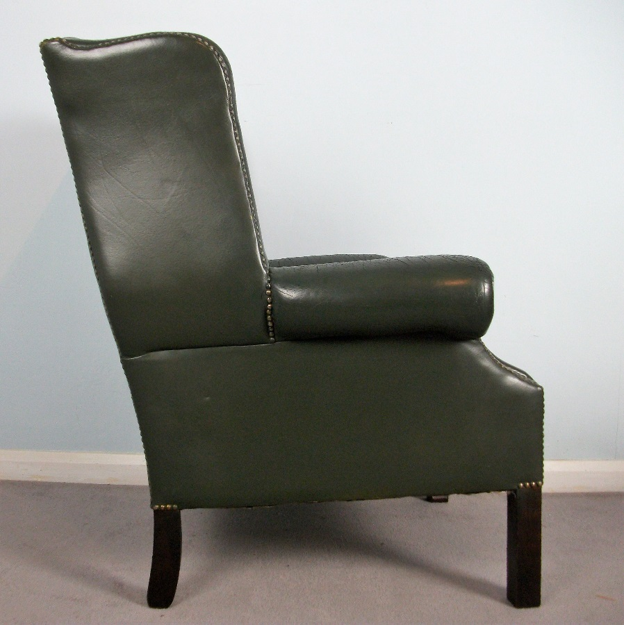 Georgian Style Leather Wing Back Chair