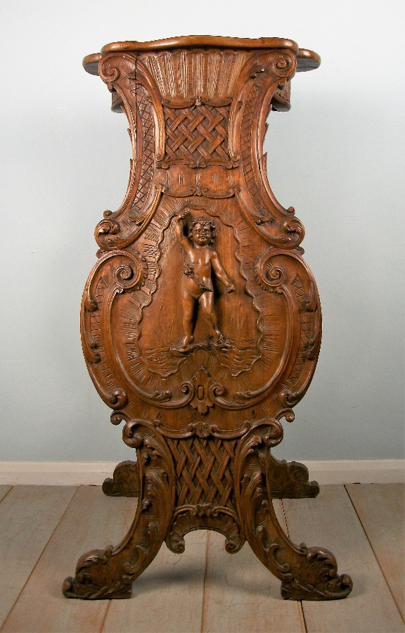 Walnut Carved Bust Stand Pedestal