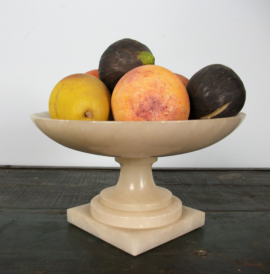 Italian alabaster stemmed bowl with fruits