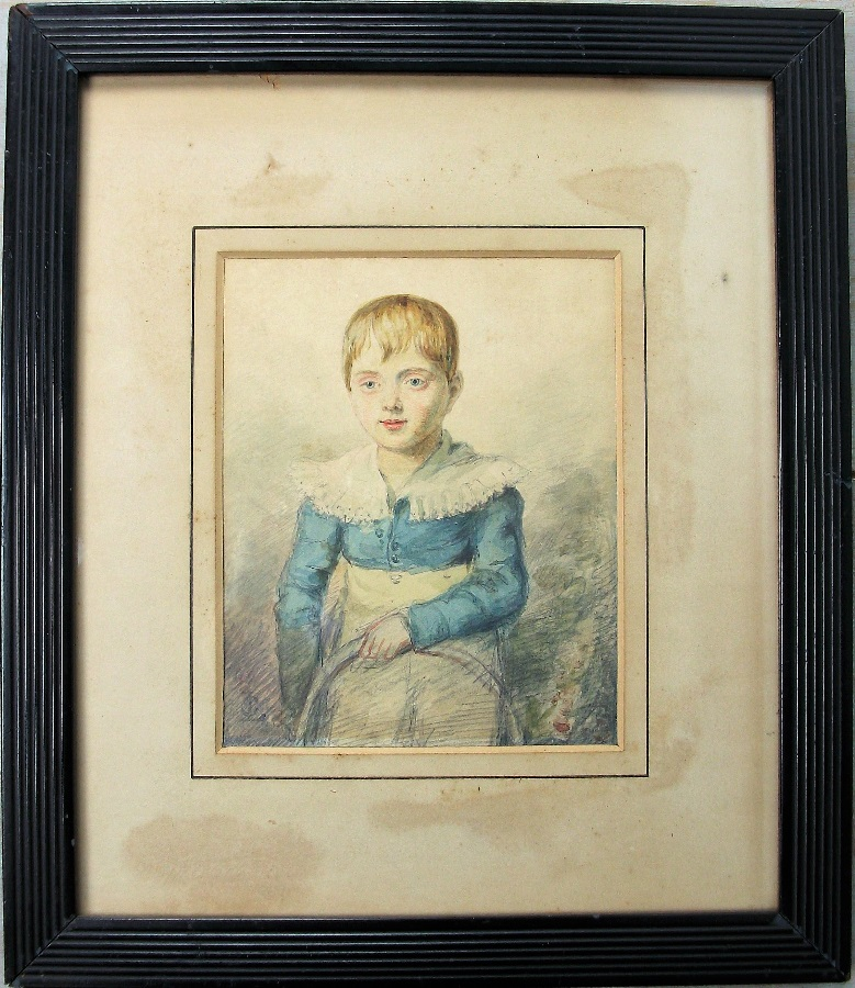 Naive Portrait Watercolour of a child with hoop