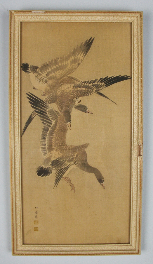 flying geese japanese painting on silk
