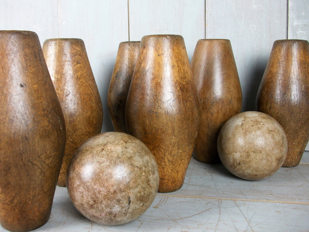 full set of ten antique oak garden Skittles