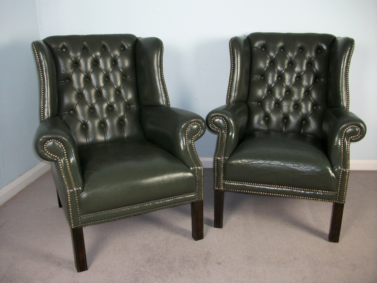 Pair of Green Leather Wingchairs