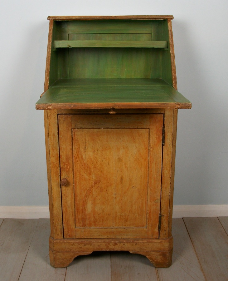 antique ocher painted small bureau from a convent