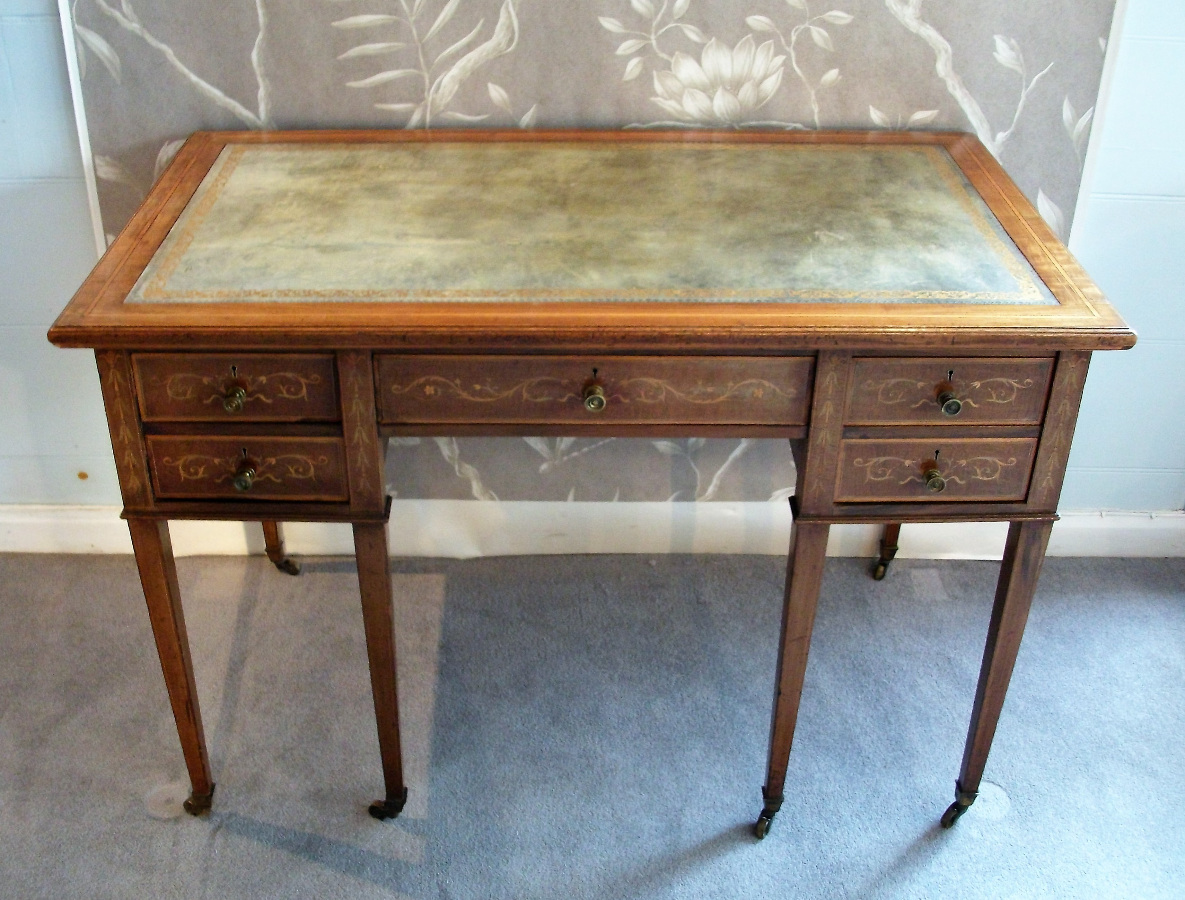mahogany inlaid writing /dressing table with sage leather top