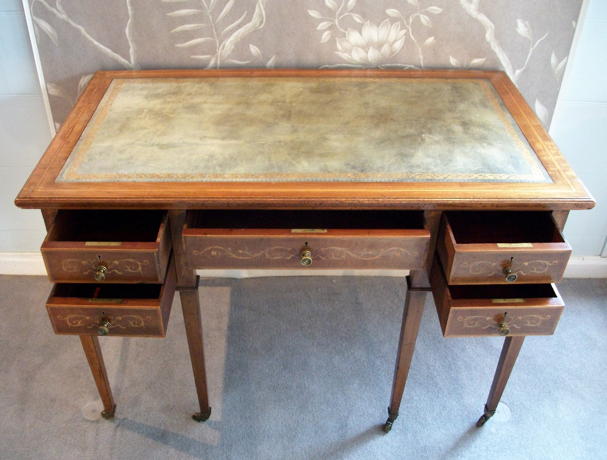 mahogany inlaid writing /dressing table with drawers and sage leather top