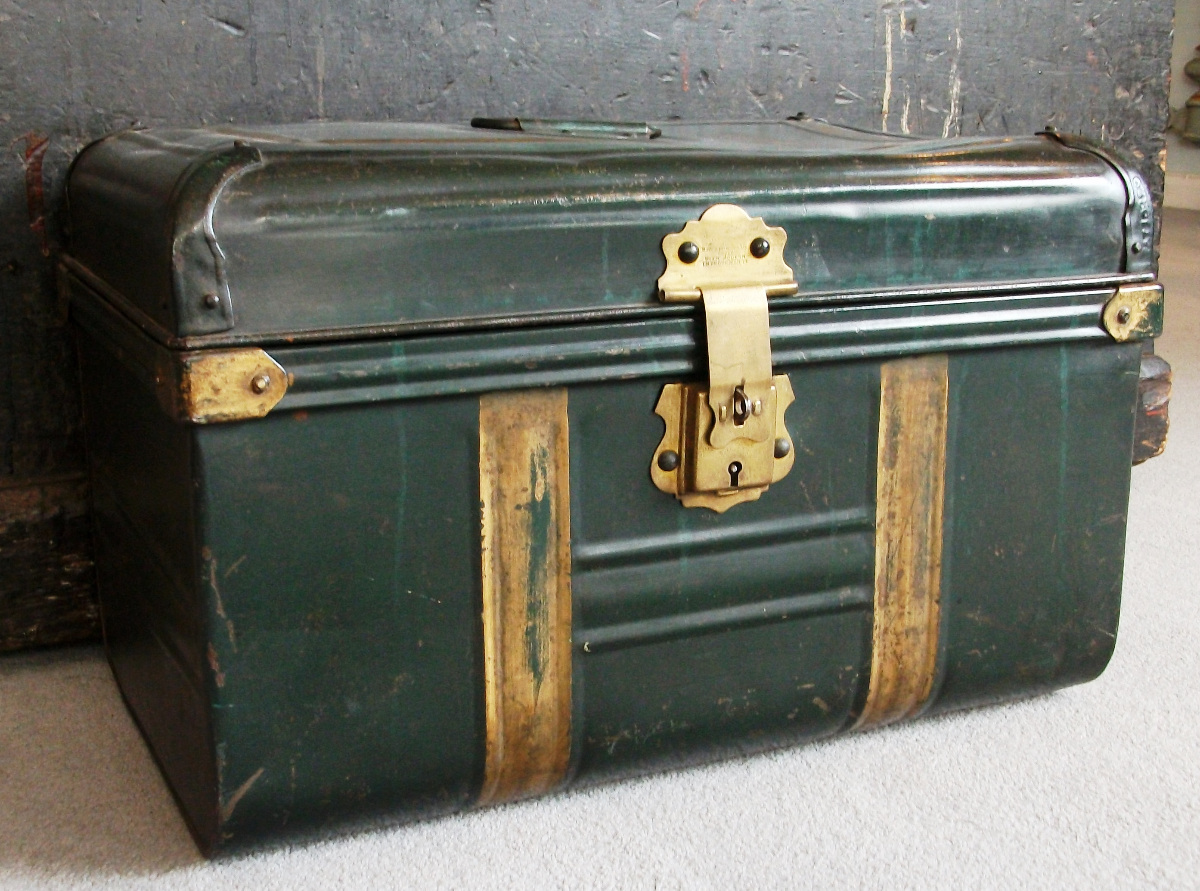 Green and Gold Painted Metal Trunk