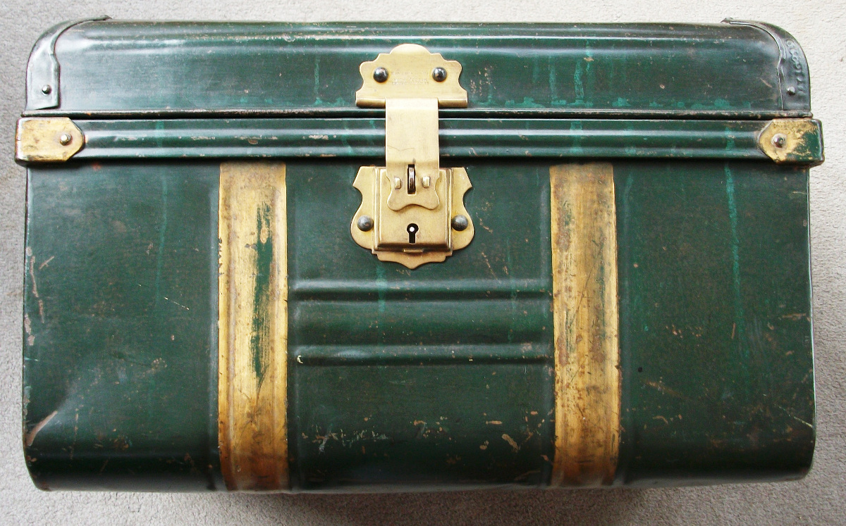 Green and Gold Painted Metal Box